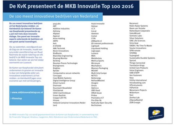 6 juli 2016 selectie MKB Innovatie top 100 2016